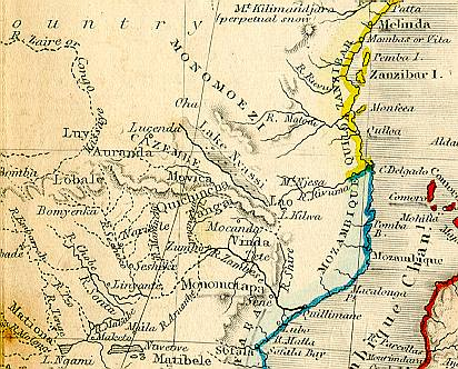 1850 Africa map (detail)